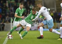 11th August 2018. International Friendly match between . Northern Ireland and Israel  at the national stadium in Belfast.. Northern Irelands Steven Davis  in action with Israels Moanes Dabour.  Mandatory Credit: Stephen Hamilton /Presseye