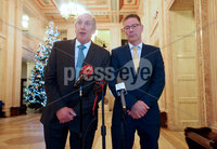 Press Eye - Belfast - Northern Ireland - 3rd December 2018. Northern Ireland\'s four pro-Remain parties meet representatives of civic society including Queens University and the University of Ulster, leaders of the student unions, the Irish Congress of Trade Unions and with NICVA and the CAJ regarding the impact of Brexit: on Education, on opportunities for students to study abroad, on the voluntary and community sectors, on workers rights and on the rights of citizens at Stormont in east Belfast. . Left to right.  John Sheridan and Brian Cunningham from Border Communities Against Brexit speak to the press in the Great Hall at Stormont. . Picture by Jonathan Porter/PressEye