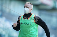 Press Eye-Belfast-Northern Ireland -27th July 2020. Sadlers\'s Peaky  Blinder Irish Cup Semi Final, National Stadium at Windsor Park, Belfast. . 27/7/2020. Ballymena United FC v Coleraine FC. Ballymena United\'s substitute  Andrew Burns  warming up. Mandatory Credit  Brian Little/PressEye