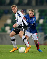 Unite the Union Champions Cup First Leg, National Football Stadium at Windsor Park, Belfast 8/11/2019. Linfield vs Dundalk. Linfield\'s Kirk Millar and John Mountey of Dundalk. Mandatory Credit  INPHO/Brian Little