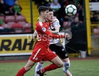 . Danske Bank Premiership, Solitude, Belfast 3/11/2018. Cliftonville vs Glentoran. Cliftonville\'s Jay Donnelly  in action with Glentorans Nathan Kerr. Mandatory Credit INPHO/Stephen Hamilton