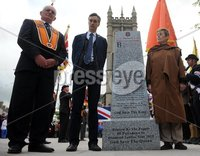 Centenary Covenant Obelisk Unveiling -  Portadown - 30th June 2012. Copyright Presseye.com. Mandatory Credit -  Declan Roughan / Presseye. (L-R)  Darryl Hewitt, Lord Craigavon\'s great grandson Max Coleman and grand daughter Aileen Coleman. An unveiling and dedication ceremony took place in Portadown on Saturday. A new 6 foot Centenary Covenant Obelisk was unveilled in the town centre plaza  in the presence of Lord Craigavon\'s grand daughter Aileen Coleman and great grandson Max Coleman. Wreaths were also laid at the second world war monument.