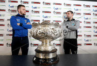 Press Eye - Belfast -  Northern Ireland - 13th February 2018 - Photo by William Cherry/Presseye. Dungannon Swifts captain Ryan Harpur and Ballymena United captain Jim Ervin pictured at the BetMcLean League Cup Final press conference at the National Stadium at Windsor Park, Belfast.