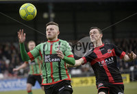 Danske Bank Premiership, Seaview Belfast.. 10/02/2018.  Crusaders v Glentoran. Crusaders Paul Heatley  in action with Glentorans Nathan Kerr. Mandatory Credit ©INPHO/Stephen Hamilton.