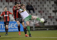 25/01/2020. Danske Bank Premiership, Seaview, Belfast Co. Antrim . Crusaders v Cliftonville . Crusaders  Declan Caddell in action with Cliftonvilles Ryan Curran . Mandatory Credit INPHO/Stephen Hamilton.