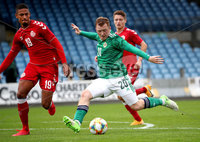 Press Eye - Belfast, Northern Ireland - 0th September 2020 - Photo by William Cherry/Presseye. Northern Ireland\'s Shayne Lavery with Denmark\'s Frederik Alves Ibsen during Tuesday nights U21 Euro Qualifier at the Ballymena Showgrounds, Ballymena.      Photo by William Cherry/Presseye