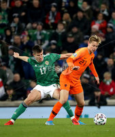 Press Eye - Belfast, Northern Ireland - 16th November 2019 - Photo by William Cherry/Presseye. Northern Ireland\'s Paddy McNair with Netherlands\' Frenkie de Jong during Saturday nights UEFA Euro 2020 Qualifier at the National Stadium, Belfast.     Photo by William Cherry/Presseye