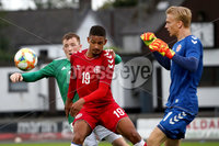 Press Eye - Belfast, Northern Ireland - 0th September 2020 - Photo by William Cherry/Presseye. Northern Ireland\'s Shayne Lavery with Denmark\'s Frederik Alves Ibsen and Oliver Christensen during Tuesday nights U21 Euro Qualifier at the Ballymena Showgrounds, Ballymena.      Photo by William Cherry/Presseye