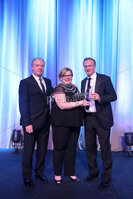 Press Eye - Belfast - Northern Ireland - 6th February 2017 -  . Belfast Telegraph Sports Awards 2016.. . Award 7 - Team of the Year Award. The Northern Ireland Football Team won the Team of the Year Award, sponsored by McComb's Coach Travel. It was presented by Caroline McComb, Director of McCombs Coach Travel.. Photo by Kelvin Boyes / Press Eye..