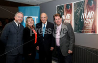 Press Eye - Belfast -  Northern Ireland - 11th April 2018 - Photo by William Cherry/Presseye. The gala premiere of Brendan J. Byrne's new film inspired by Colin Davidson's Silent Testimony exhibition, was held at the QFT Belfast this evening. Pictured left to right are Colin Davidson, Sandra Peake, Senator George Mitchell and Brendan J. Byrne.