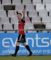12th December  2020. Danske Bank Irish premier league match between Crusaders and Portadown at Seaview Belfast. Crusaders Paul Heatley celebrates after scoring . Mandatory Credit   Inpho/Stephen Hamilton