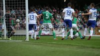 PressEye-Northern Ireland- 8th September  2018-Picture by Brian Little/ PressEye. Northern Ireland  Will Grigg  scores against Bosnia and Herzegovina      during  Saturday\'s  UEFA Nations League match at the National Football Stadium at Windsor Park.. Picture by Brian Little/PressEye .