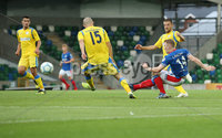 UEFA Europa League- Qualifying Third Round-2nd Leg, Windsor Park, Belfast  12/8/2019. Linfield FC vs FK FK Sutjeska. Linfield\'s  Shayne Lavery scores against  FK Sutjeska.. Mandatory Credit  INPHO/Brian Little