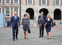 Press Eye - Belfast - Northern Ireland - 31st July 2020 - . First Minister Arlene Foster and deputy First Minister Michelle ONeill with Taoiseach Michel Martin and Tnaiste Leo Varadkar pictured at the meeting of the North South Ministerial Council at Dublin Castle.. Photo by Kelvin Boyes / Press Eye..