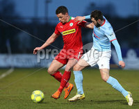 Danske Bank Premiership, Ballymena United vs Cliftonville, The Ballymena Showgrounds, Co. Antrim . 3/4/2018 . Ballymena United\'s Francis . McCaffrey in action with Cliftonville\'s Ruairi. Harkin. Mandatory Credit ©INPHO/Matt Mackey