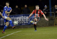 Danske Bank Premiership, The Showgrounds Newry 11/01/2019. Newry vs Crusaders. Crusaders David Cushley fires his side into a 1-0 lead. Mandatory Credit INPHO/Stephen Hamilton.