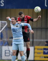 23/11/2019. Danske Bank Irish Premiership. Warrenpoint Town v Crusaders at Milltown.. Warrenpoints Alan Osullivan  in action with Crusaders Colin Coates. Mandatory Credit Presseye/Stephen Hamilton