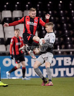 3/12/2019. Bet McLean league cup semi final between Crusaders and Institute at Seaview.. Crusaders David Cushloey  in action with Institutes Evan Tweed. Mandatory Credit Inpho/Stephen Hamilton