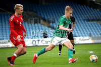 Press Eye - Belfast, Northern Ireland - 0th September 2020 - Photo by William Cherry/Presseye. Northern Ireland\'s Caolan Boyd-Munce with Denmark\'s Vistor Nelsson during Tuesday nights U21 Euro Qualifier at the Ballymena Showgrounds, Ballymena.      Photo by William Cherry/Presseye
