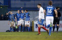 Danske Bank Premiership, Mourneview Park, Co. Armagh 3/4/2018 . Glenavon vs Linfield. Mandatory Credit ©INPHO/William Cherry. Glenavon\'s Andrew Mitchell celebrates scoring against Linfield