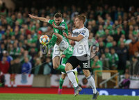 Press Eye - Belfast - Northern Ireland - 9th September 2019 - Picture Matt Mackey / Press Eye.. EURO qualifier 2020 Stadium at Windsor Park, Belfast. Northern Ireland Vs Germany.. Northern Ireland\'s Stuart Dallas with Germany\'s Marcel Halstenberg.