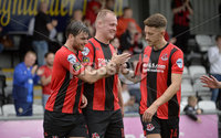 10th August 2019. Danske Bank Premiership.  Crusaders v Carrick Rangers at Seaview Belfast.. Crusaders Jordan Owens celebrates after he  heads his side into a 1-0 lead. Mandatory Credit : Stephen Hamilton/Inpho