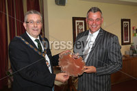 PRESS EYE-BELFAST-NORTHERN IRELAND. Conferement of the Freedom of the Borough by Dungannon and South Tyrone Council today.Darren Clarke received the freedom of his home town Dungannon during a special ceremony held in recognition of his achievements in world golf.. Mayor Kenneth Reid presents Darrne with a silver Salver. Pic : BrianThompson/Presseye.com