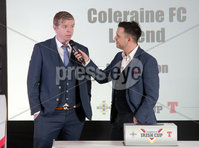 Press Eye Northern Ireland . Thursday 6th December 2018. Picture by Jonathan Porter  / Press Eye . . 5th Round Draw of the Tennent\'s Irish Cup that took place today in Pat Jennings Lounge, National Football Stadium at Windsor Park.. Pictured Peter Snodden Cool FM and Paul Gaston Coleraine Legend