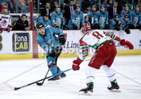 Press Eye - Belfast, Northern Ireland - 01st February 2020 - Photo by William Cherry/Presseye. Belfast Giants\' Patrick Mullen with Cardiff Devils\' Matthew Myers during Sunday afternoons Elite Ice Hockey League game at the SSE Arena, Belfast.   Photo by William Cherry/Presseye