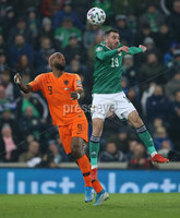 PressEye-Northern Ireland- 16th November 2019-Picture by Brian Little/PressEye. Northern Ireland Micheal Smith   and Netherlands Ryan Babel   during Saturday\'s EURO 2020 Qualifier at the National Football Stadium at Windsor Park.. Picture by Brian Little/PressEye