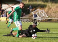 PressEye-Northern Ireland- 19th August  2019-Picture by Brian Little/PressEye. Northern Ireland U16 Charlie Lindsay    and Estonia U16 Kaupo Kruusmae  during Monday evening\'s challenge match at Breda Park (Knockbreda FC).. Picture by Brian Little/PressEye .