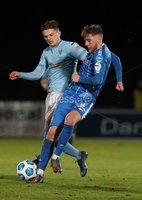 Danske Bank Premiership, Showgrounds, Ballymena.. 16/2/2021. Ballymena United  FC vs Coleraine FC . Ballymena United Paul McElroy     and Coleraine  Evan Tweed  during Tuesday night\'s Danske Bank Premiership match at Ballymena Showgrounds.. Mandatory Credit  INPHO/Brian Little