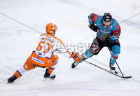 Press Eye - Belfast -  Northern Ireland - 05th January 2018 - Photo by William Cherry/Presseye. Belfast Giants Brendan Connolly with Sheffield Steelers Colton Fretter during Friday nights Elite Ice Hockey League game at the SSE Arena, Belfast