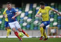 Danske Bank Premiership, Windsor Park, Belfast 2/12/2017 . Linfield vs Dungannon Swifts. Linfield\'s Stephen Lowry and Kris Lowe of Dungannon Swifts. Mandatory Credit ©INPHO/Brian Little