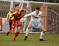 9th May 2018. Europa league play off semi final match between Cliftonville and Ballymena United at Solitude in Belfast.. Cliftonvilles Jay Donnelly with Ballymena\'s Kofi Balmer. Mandatory Credit ©Inpho/Stephen Hamilton