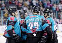 Press Eye - Belfast -  Northern Ireland - 14th September 2018 - Photo by William Cherry/Presseye. Belfast Giants\' Paul Swindlehurst celebrates scoring against the Dundee Stars during Friday nights Challenge Cup game at the SSE Arena, Belfast.       Photo by William Cherry/Presseye