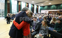 Press Eye - Belfast - Northern Ireland - 10th February 2019 - . Gerry Adams and Geraldine Finucane pictured at the event at St Marys University College Belfast entitled Pat Finucane 30th Anniversary, A Community Reflects. The event was organised by Feile an Phobail.. Photo by Kelvin Boyes / Press Eye