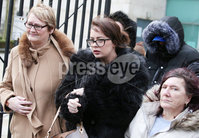 Press Eye - Belfast - Northern Ireland - 8th February 2019. . 33-year-old man appears in Belfast Magistrates Court charged with the murder of Ian Ogle.  The 45-year-old died after being assaulted by several people at Cluan Place area of east Belfast on Sunday 27th January.  . Mr Ogle\'s daughter Toni(centre) pictured outside Belfast Laganside Courts. . Picture by Jonathan Porter/PressEye