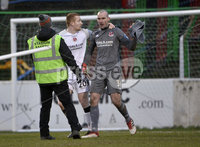 29/02/20. Sadlers Peaky Blinders Irish Cup Quarter final between Glentoran  and Crusaders at the Oval Belfast.  Crusaders Gerad Doherty is irate after a bottle was thrown at him  . Mandatory Credit - Inpho/Stephen Hamilton.