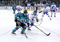 Press Eye - Belfast, Northern Ireland - 06th March 2020 - Photo by William Cherry/Presseye. Belfast Giants\' David Goodwin with Fife Flyers\' Michal Gutwald during Friday nights Elite Ice Hockey League game at the SSE Arena, Belfast.   Photo by William Cherry/Presseye