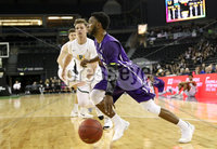 Press Eye - Belfast -  Northern Ireland - 30th November 2018 - Photo by William Cherry/Presseye. San Francisco\'s Frankie Ferrari with Stephen F. Austin\'s Aaron Augustin during Friday afternoons game in the Goliath bracket of the Basketball Hall of Fame Belfast Classic at the SSE Arena, Belfast.