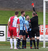Danske Bank Premiership, Ryan McBride Brandywell Stadium, Derry, Northern Ireland 16/11/2019. Institute vs Linfield. Institutes Ryan Morrow sent off by match referee Raymond Crangle. Mandatory Credit INPHO/Lorcan Doherty