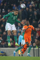 PressEye-Northern Ireland- 16th November 2019-Picture by Brian Little/PressEye. Northern Ireland Josh Magennis  and Netherlands Quincy Promes   during Saturday\'s EURO 2020 Qualifier at the National Football Stadium at Windsor Park.. Picture by Brian Little/PressEye