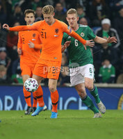 PressEye-Northern Ireland- 16th November 2019-Picture by Brian Little/PressEye. Northern Ireland George Saville  and Netherlands Frenkie de Jong   during Saturday\'s EURO 2020 Qualifier at the National Football Stadium at Windsor Park.. Picture by Brian Little/PressEye