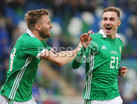 Press Eye Belfast - Northern Ireland 11th September 2018. International Challenge match at the National Stadium at Windsor Park in Belfast.  Northern Ireland Vs Israel. . Northern Ireland\'s Gavin Whyte celebrates after he scores to make it 3-0. . Picture by Jonathan Porter/PressEye.com