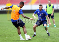 Press Eye - Belfast -  Northern Ireland - 02nd June 2018 - Photo by William Cherry/Presseye. Northern Ireland\'s Corry Evans and Josh Magennis  pictured during Saturday mornings training session at the Nuevo Estadio Nacional de Costa Rica in San Jose ahead of Sundays Friendly International against Costa Rica.. Photo by William Cherry/Presseye