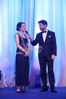 Press Eye - Belfast - Northern Ireland - 6th February 2017 -  . Belfast Telegraph Sports Awards 2016.. Award 3 - Malcolm Brodie Player of the Year award. Rory Best won the Malcolm Brodie Player of the Year award, sponsored by Celerion. Paula Quinn, Recruitment Manager from Celerion and rugby legend Stephen Ferris presented the award to Jodie Best, Rory's wife.. Jodie Best with Craig Doyle.. Photo by Kelvin Boyes / Press Eye..