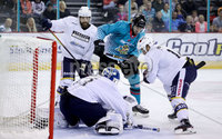 Press Eye - Belfast -  Northern Ireland - 24th August 2019 - Photo by William Cherry/Presseye . Belfast Giants\' Brian Ward with Herning Blue Fox\'s Albert Adamsen during Saturday nights Exhibition Game at the SSE Arena, Belfast.    Photo by William Cherry/Presseye