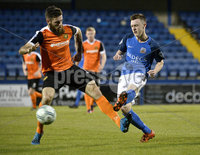 Danske Bank Premiership, Mourneview Park, Armagh 8/9/2017. Glenavon vs Carrick Rangers . Glenavon\'s James Singleton with Carrick\'s Mark Clarke. Mandatory Credit ©INPHO/Stephen Hamilton