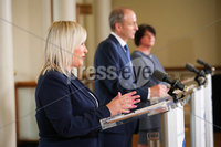 Press Eye - Belfast - Northern Ireland - 31st July 2020 - . Deputy First Minister Michelle ONeill  and First Minister Arlene Foster with Taoiseach Michel Martin pictured at a press conference after the meeting of the North South Ministerial Council at Dublin Castle.. Photo by Kelvin Boyes / Press Eye.